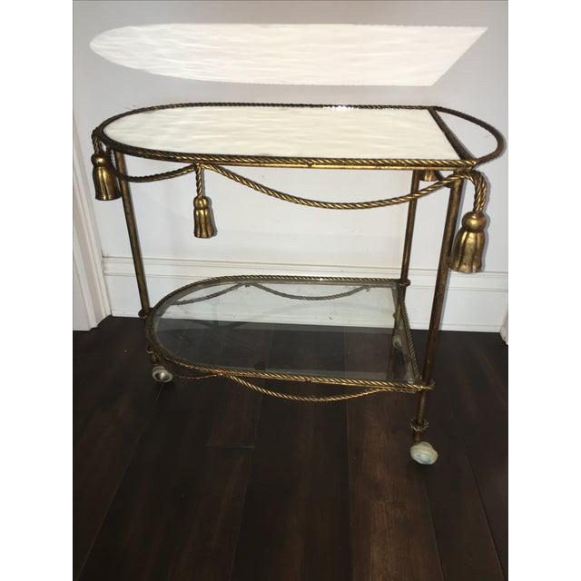 Italian Gold Faux-Rope Bar Cart - Image 3 of 6