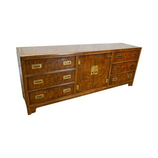 Drexel Heritage Dynasty Collection Campaign Style Mahogany Long Dresser
