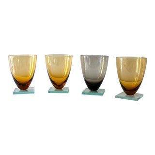 1980s Minimalist Square Footed Yellow and Gray Glass Tumblers - Set of 4 For Sale