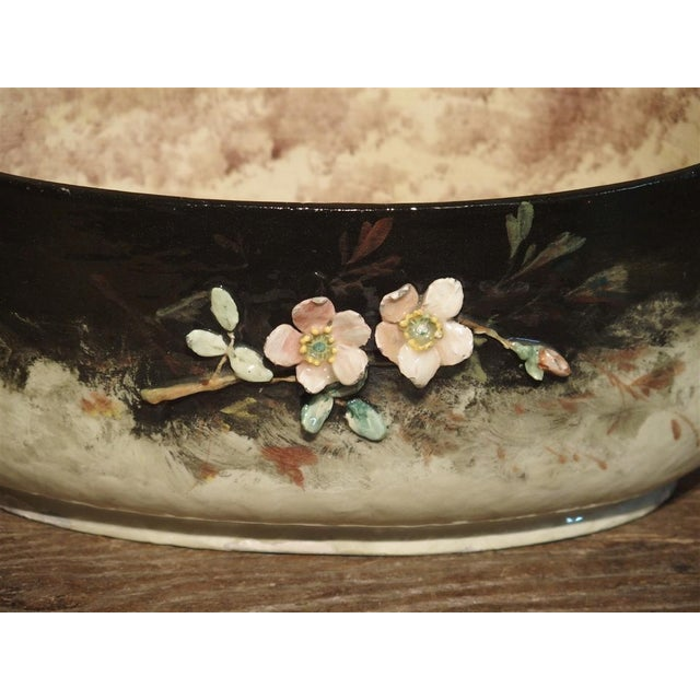 Black Circa 1880 Edouard Gilles Barbotine Jardiniere From France For Sale - Image 8 of 13