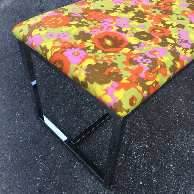 Mid-Century Upholstered Chrome Bench For Sale - Image 4 of 7