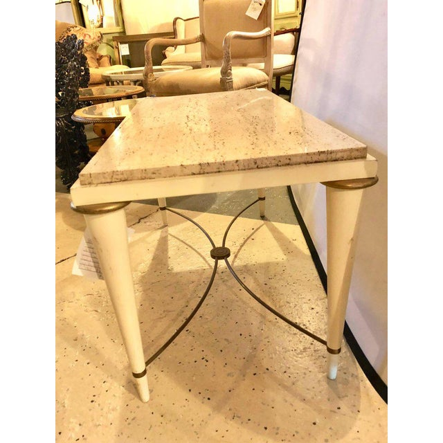 White Mid-Century Modern Coffee Table Inset Travertine Marble-Top and Brass Stretcher For Sale - Image 8 of 11