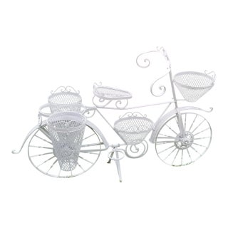 Vintage Hand-Crafted White Metal Painted Bicycle Planter