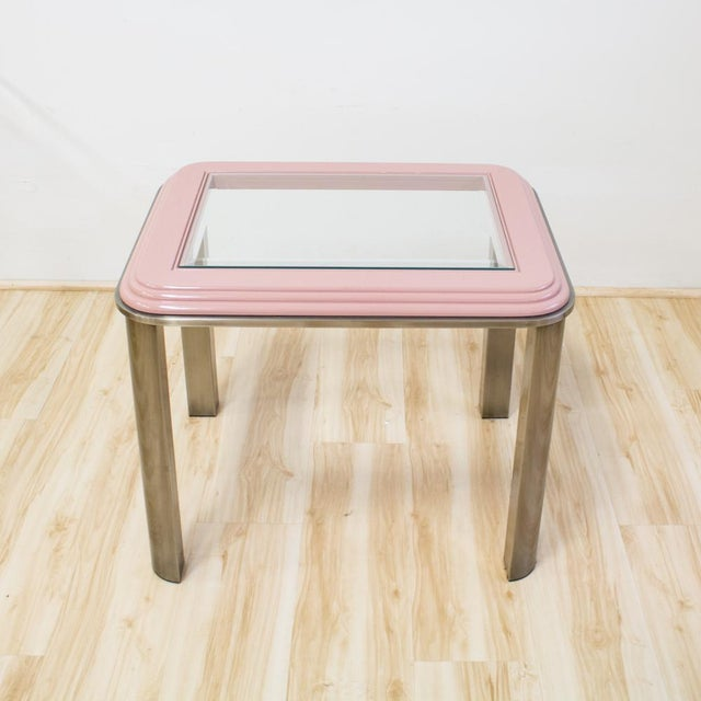 Art Deco Vintage DIA Memphis Style Pink & Chrome Side Table For Sale - Image 3 of 8