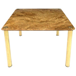 Pace Collection Square Onyx and Brass Dining Table For Sale
