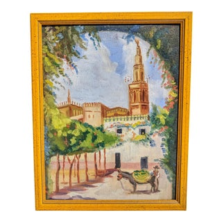 Vintage Framed Mexican Acrylic Painting For Sale