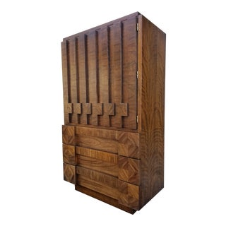 """Lane Furniture """"Staccato"""" Brutalist Tall Dresser or Chiffonier For Sale"""