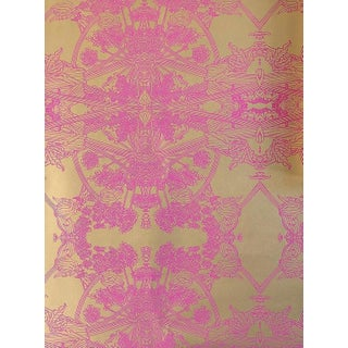 Erica Tanov Botanicus Wallpaper in Hot Pink + Gold Leaf - 1 Roll For Sale