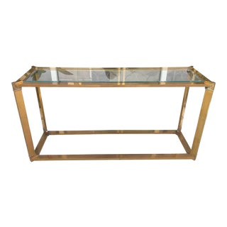 Solid Brass Console Table/Glass Top For Sale