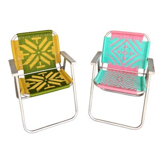 Vintage Mid-Century Handmade Macrame Aluminum Folding Chairs - A Pair For Sale