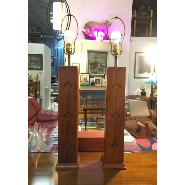1960s Mid-Century Walnut Table Lamps - a Pair For Sale - Image 5 of 5