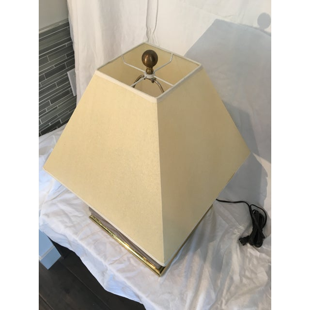 1970s 1970s Modern Chevron Taupe Ceramic & Brass Table Lamp For Sale - Image 5 of 10