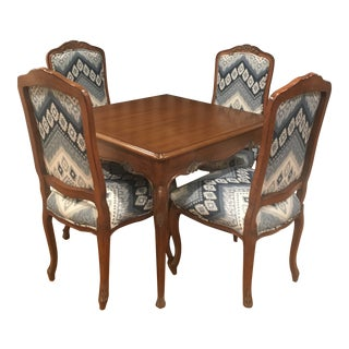 Modern Card Table and Chairs- 5 Pieces For Sale