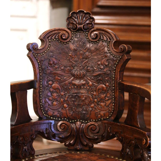 Late 19th Century 19th Century English Carved Oak and Embossed Leather Lady's Desk Armchair For Sale - Image 5 of 13