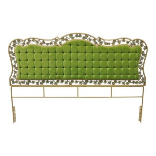Gold Gilt Metal Hollywood Regency Green Tufted King Size Headboard