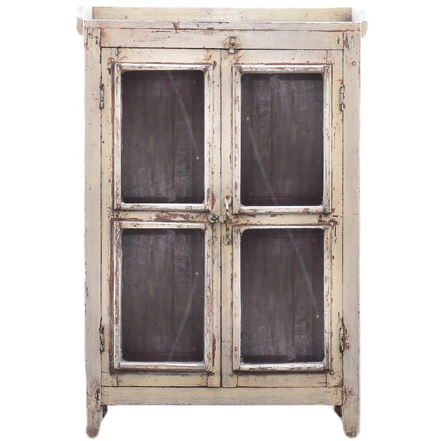 Navajo White Wooden Cabinet With Mesh Panels - Image 1 of 5