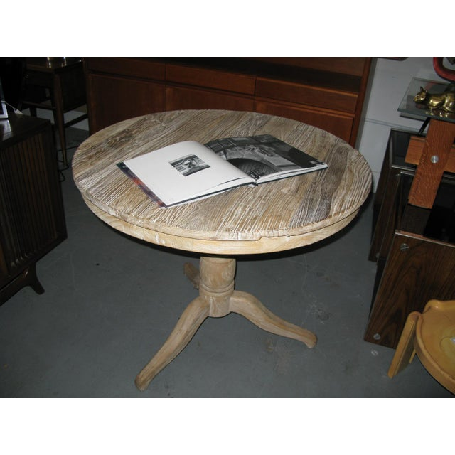 Rustic White Round Distressed Table For Sale - Image 3 of 9