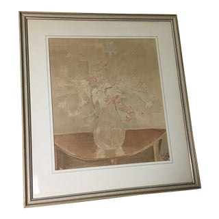 20th Century Still Life Floral Watercolor Painting Signed For Sale