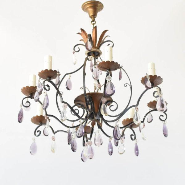 Materials Crystal, Iron Number of Lights 8 Width (inches) 30 Height (inches) 22 Condition Restoration Included in Price