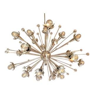 Polished Nickel and Crystal Sputnik Chandelier For Sale