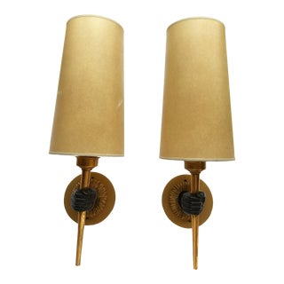1940s French Bronze Hand Sconces - a Pair For Sale