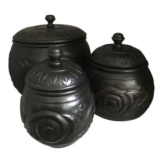 Hand Carved Wooden Urn/Jars With Lids - Set of 3 For Sale