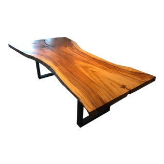 Modern Long Live Edge Dining Table For Sale