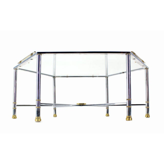 Silver Maison Jansen Style Chrome Brass & Glass Hexagon Coffee Table For Sale - Image 8 of 8