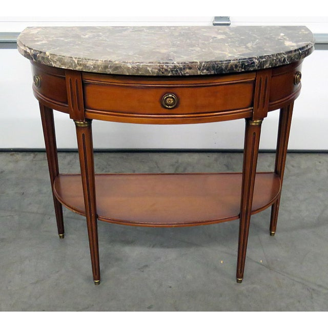 Directoire Style Marble Top Demi-Lune Console Table For Sale - Image 9 of 9