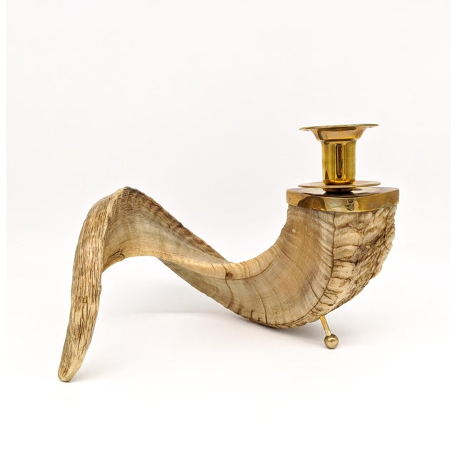 1960's Ram's Horn and Brass Candlesticks - a Pair For Sale - Image 4 of 10