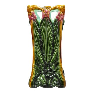 Antique Glazed Pottery Ceramic French Art Nouveau Majolica Umbrella Stand For Sale