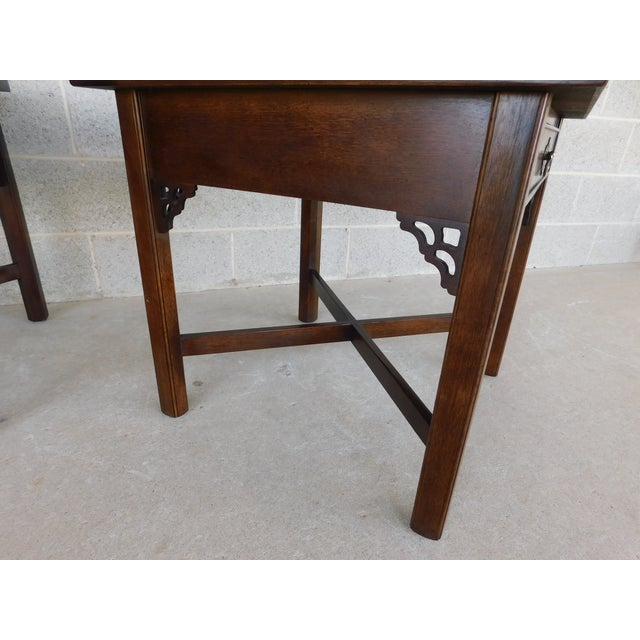 Gold Knob Creek Chippendale Style Mahogany & Burl Walnut End Tables For Sale - Image 8 of 11