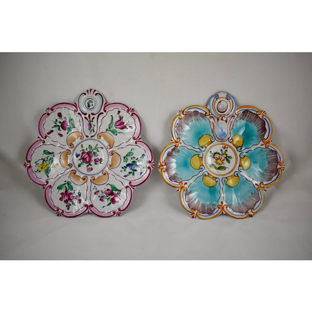 St. Clément French Faïence Turquoise Floral Oyster Plate For Sale - Image 11 of 12