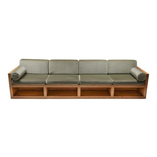 1960s Mid-Century Modern Sofa in Pitch Pine and Velvet For Sale
