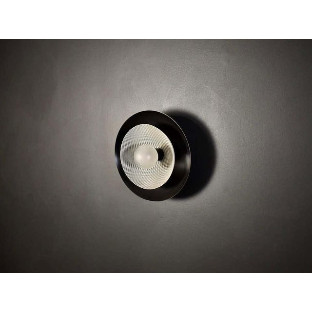 Blueprint Lighting Centric Wall Sconce in Oil-Rubbed Bronze & White Enamel Mesh, Blueprint Lighting For Sale - Image 4 of 7