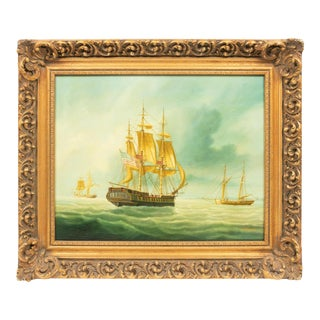 1800's Antique Boats, Warships at Sea, American School Painting For Sale
