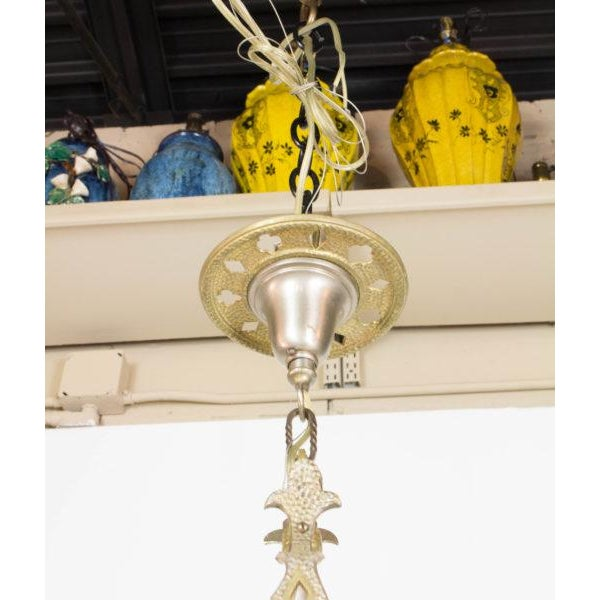 Early 20th Century Small Brass and Nickel Hall Fixture For Sale - Image 5 of 9