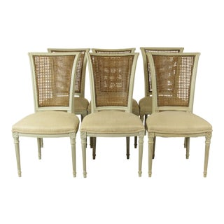 1960s Vintage Directoire Style Dining Chairs- Set of 6 For Sale