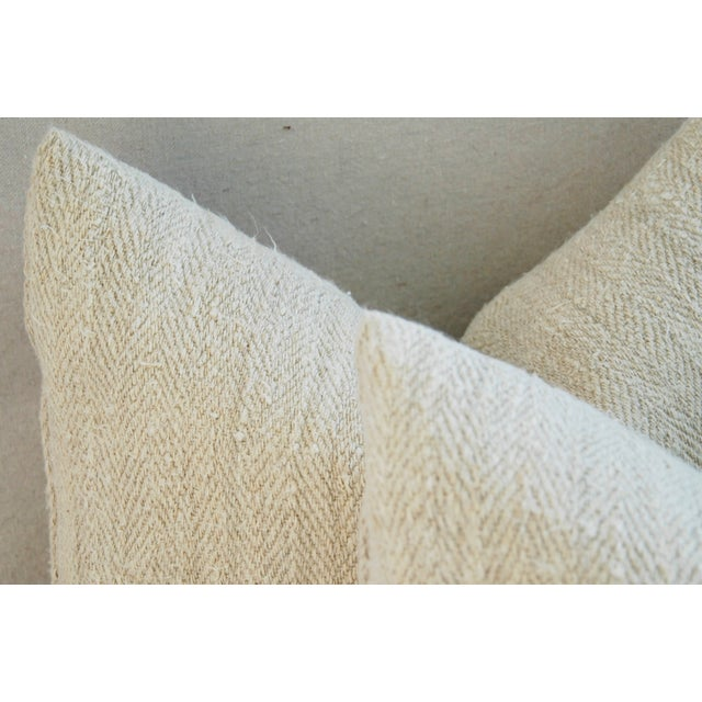 French Grain Sack Pillows - A Pair - Image 9 of 11