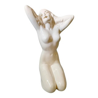 Mid Century Glazed Ceramic Nude Pottery Woman Pinup For Sale