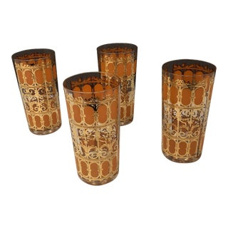 Culver Mid-Century Gold & Orange Glass Cocktail Glasses - Set of 4