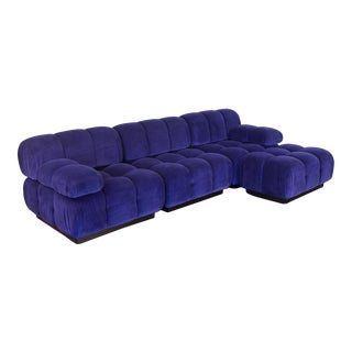 Open Air Modern Purple Blue Velvet Custom Modular Tufted Loveseat With Ottoman For Sale