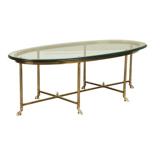 20th C. Jansen Style Brass Oval Coffee Table For Sale