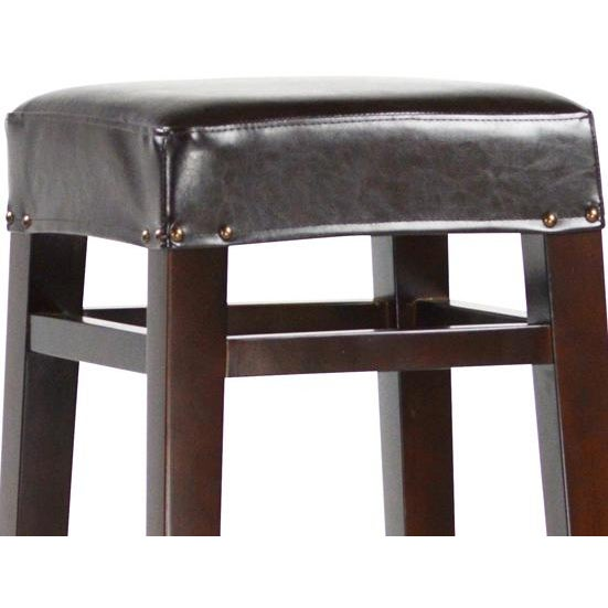 Dark Wood & Leather Bar Stool - Image 2 of 2