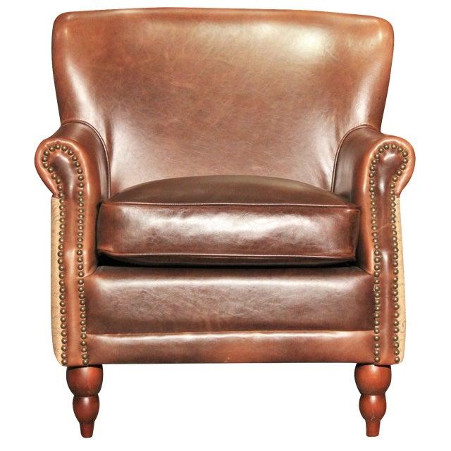 Leather & Burlap Script Chair - Image 1 of 5