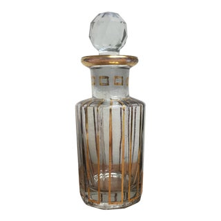 Large Baccarat Crystal Perfume Bottle With Gold Detail