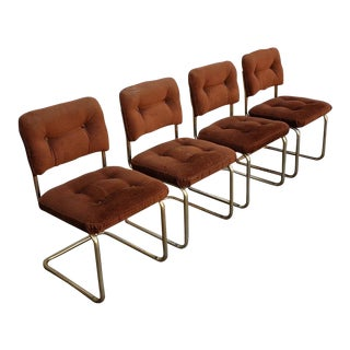 1980s Vintage Brass & Brown Velvet Dining Chairs - Set of 4 For Sale