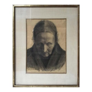 Domenico Baccarini Charcoal Drawing of a Woman For Sale