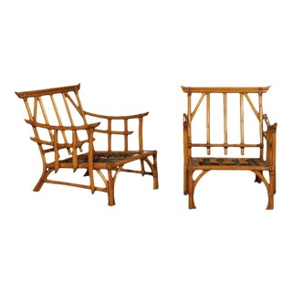 Magnificent Pair of Restored Vintage Rattan Pagoda Lounge Chairs For Sale