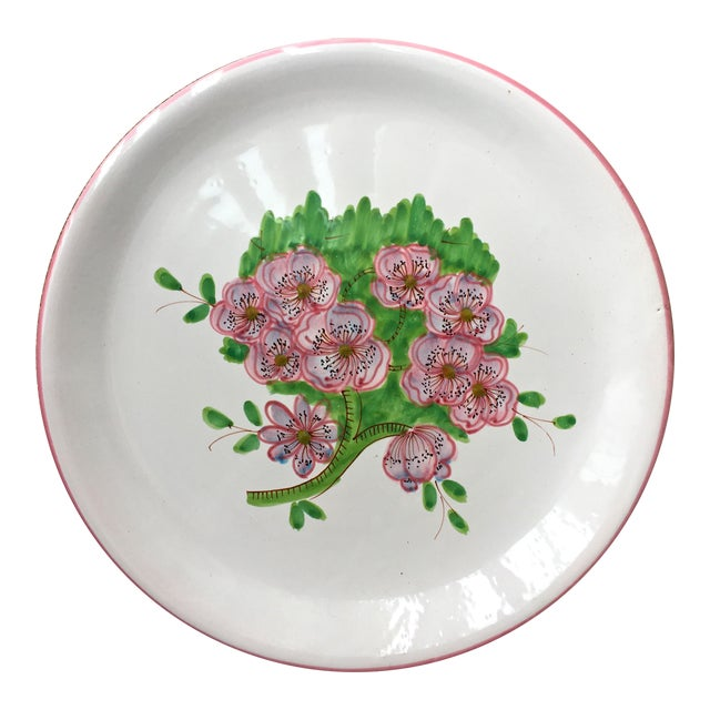 "Italian Faience Geraniums Platter-13"" For Sale"